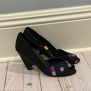 Abaete Navy Blue Wedge Shoes - Size 6